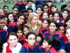 """With Palestinian and Israeli girls from the Children Sports unit of """"Peres Centre for Peace"""""""